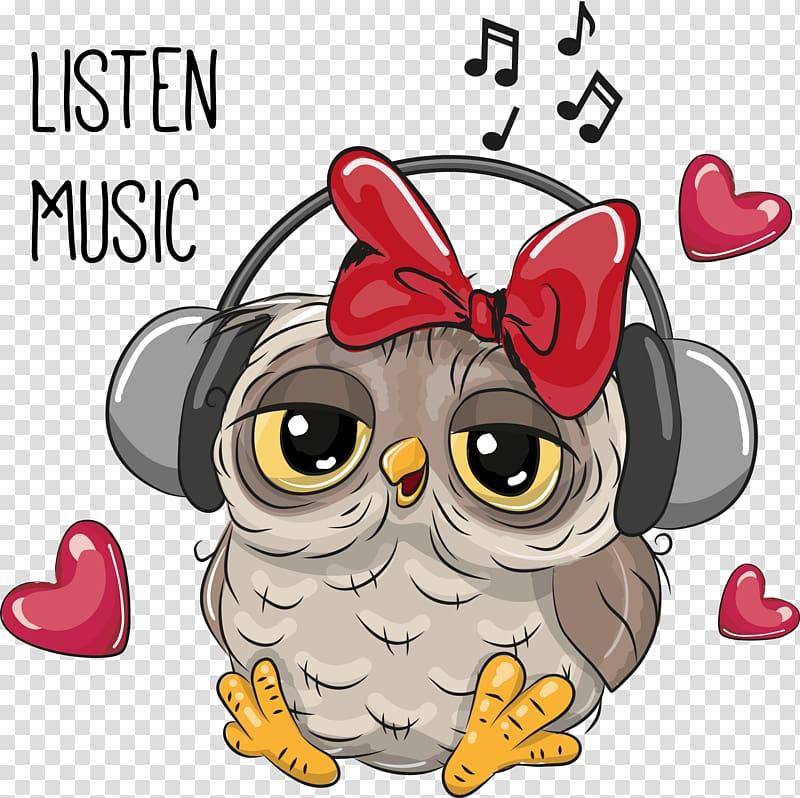 Gray owl listening music illustration, Owl Cartoon.