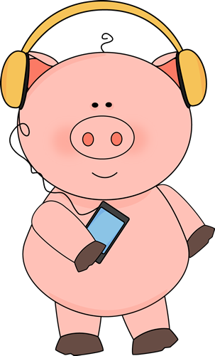 Pig Listening to Music Clip Art.