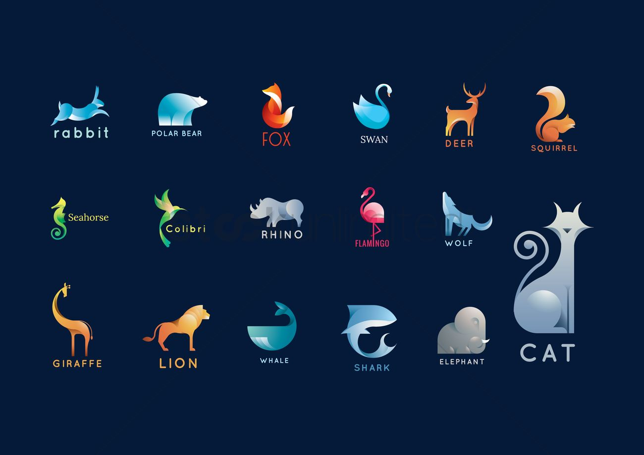 Set of abstract animals logo elements Vector Image.