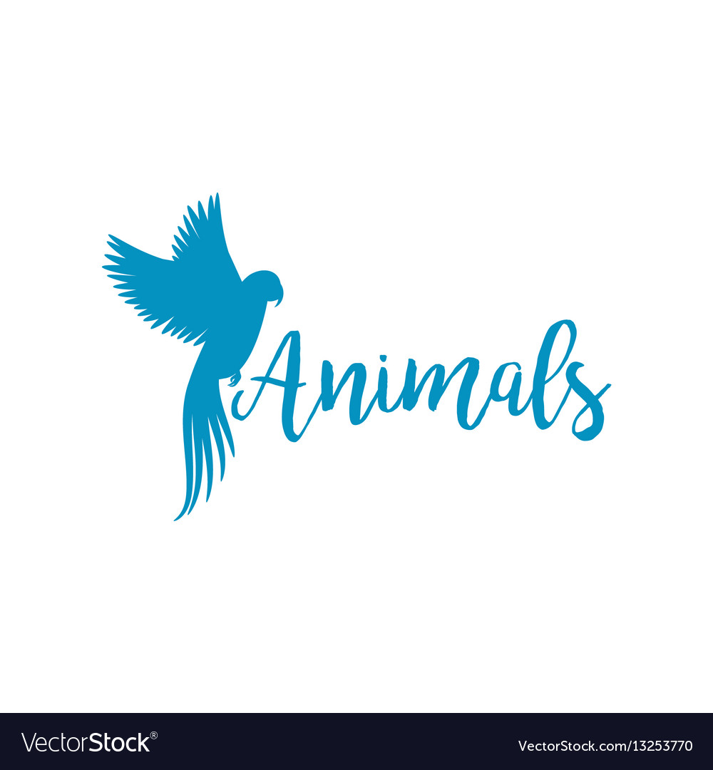 Animals logo template with flying bird.