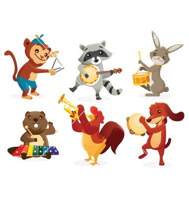 Musical animals vector 1088748.