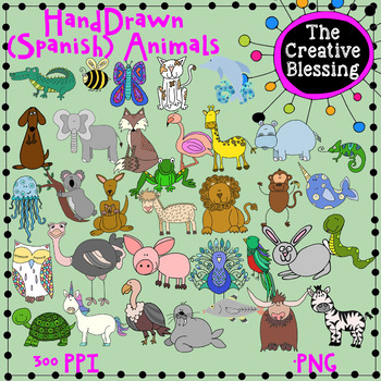 35 Alphabet Animals Clip Art ( English and Spanish Animals).