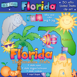 Florida fun clip art for the sunshine state by DJ Inkers.