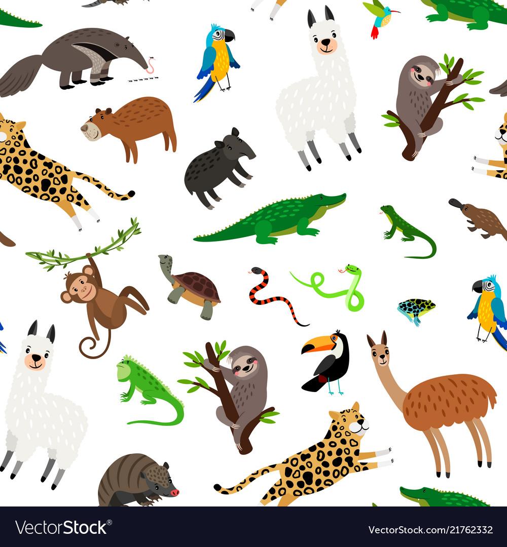 South america animals pattern.