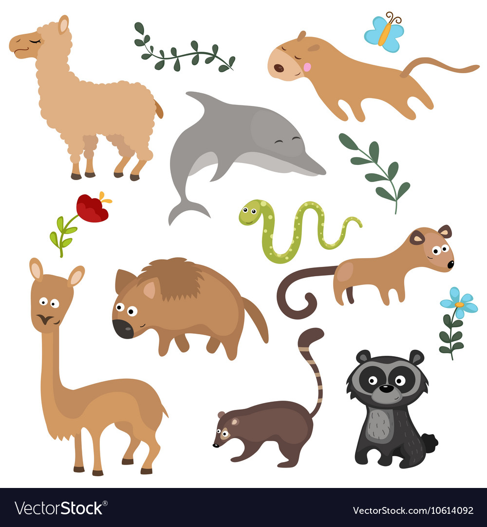 Set of different animals of south america.
