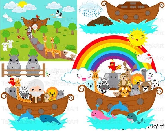 Noah\'s Ark whole Set Clipart Digital Graphics for Personal.