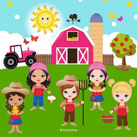 Farm animals clipart Farmer Girls clipart Farm clipart.
