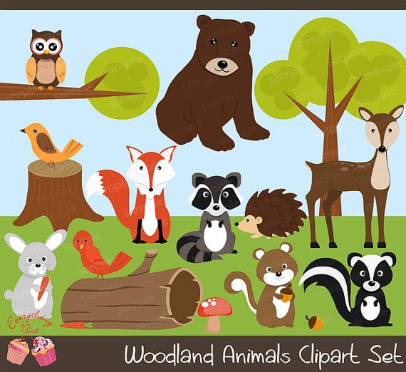 Wood land Animals Clipart Set.