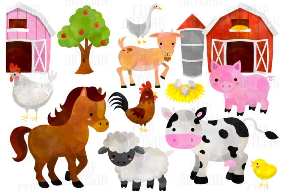 Watercolor Farm Animals Clipart (Graphic) by ClipArtisan.