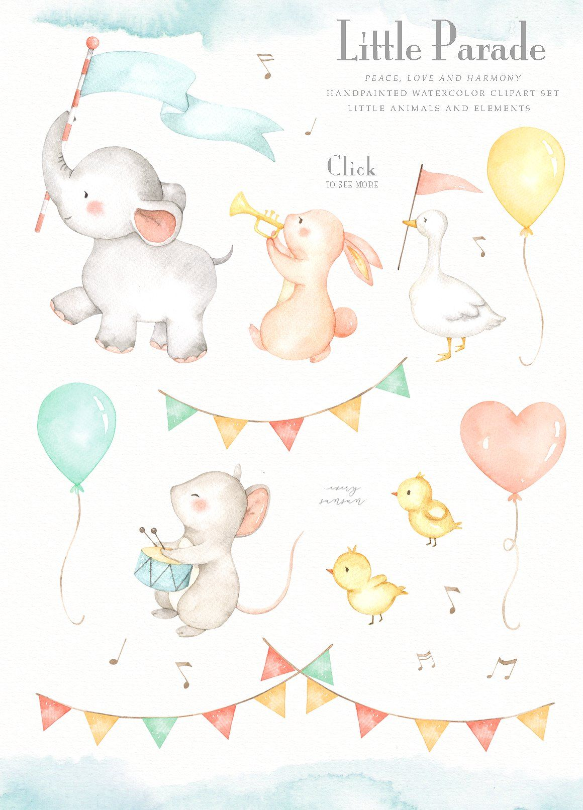 Little Parade Watercolor Clipart by everysunsun on.