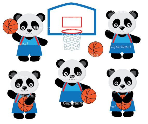Instant Download. Panda basketball clipart. Cpan_8. Personal.