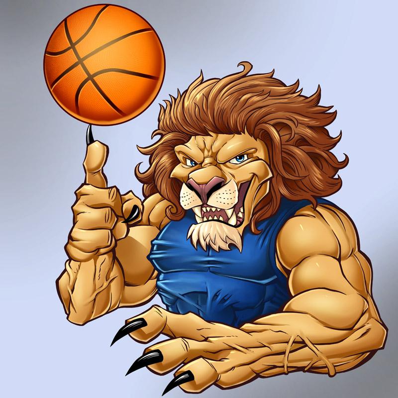 Animal playing basketball clipart.