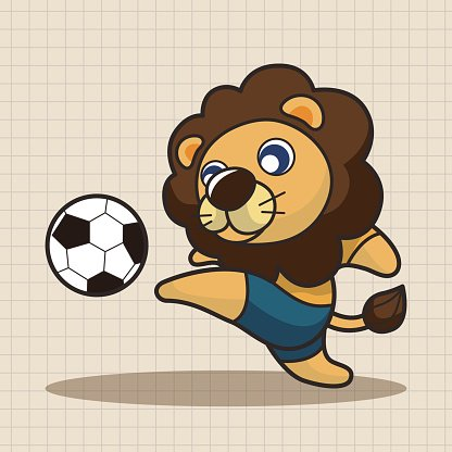 Animals play football cartoon theme elements Clipart Image.