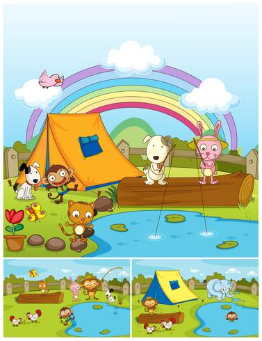 Farm animals playing in the park.