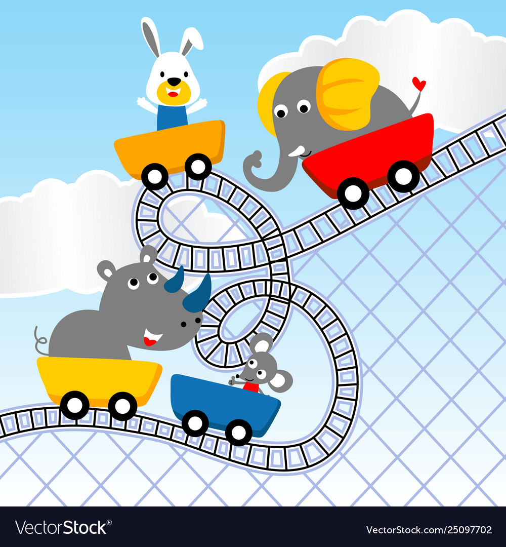 Cute animals cartoon playing roller coaster.