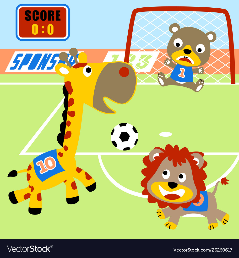 Animals soccer championship cartoon.