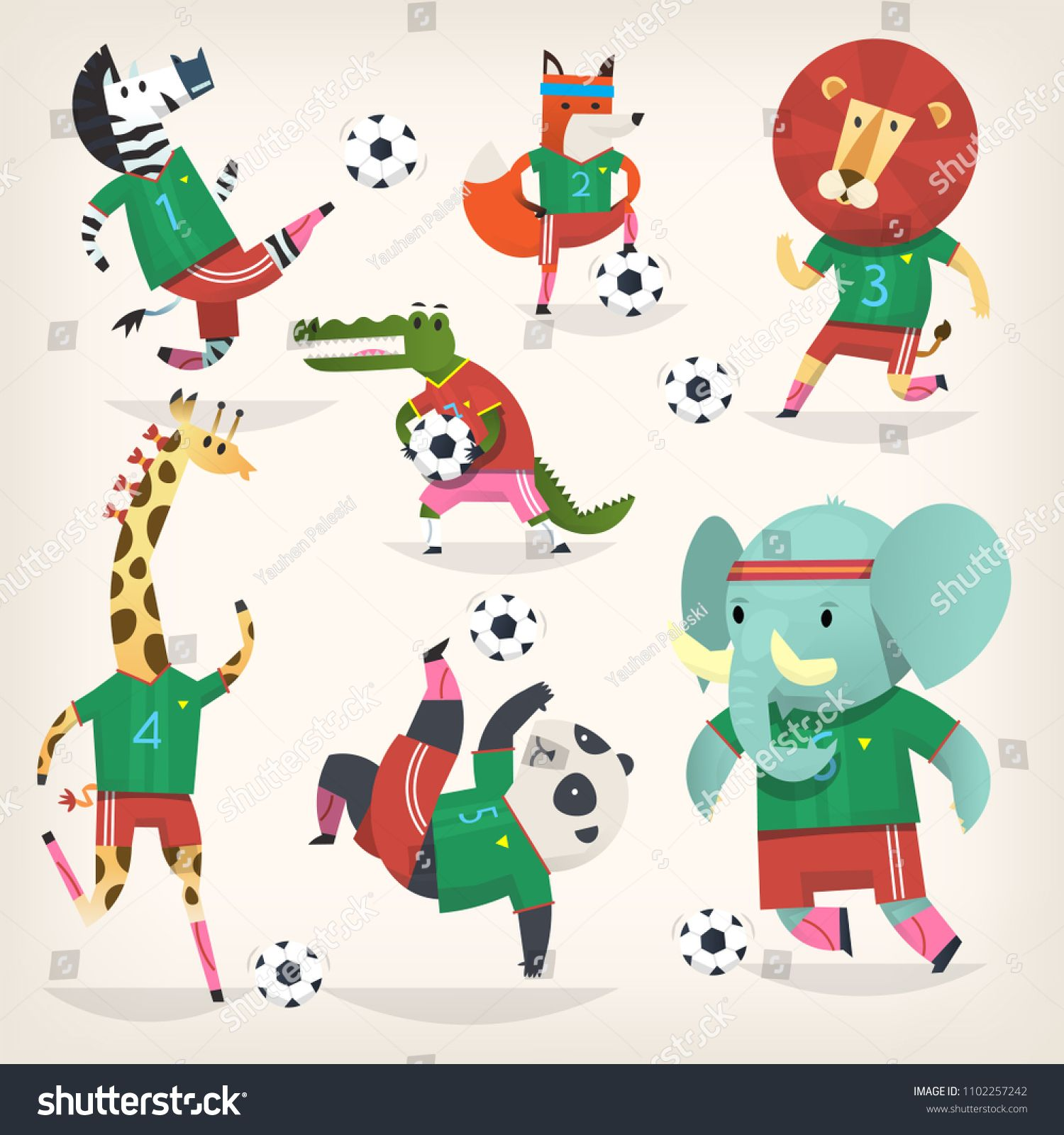 Team of wild animals playing football. Second team. Cute.