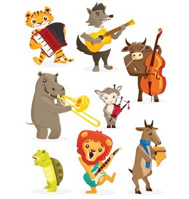 Musical animals vector 1088730.