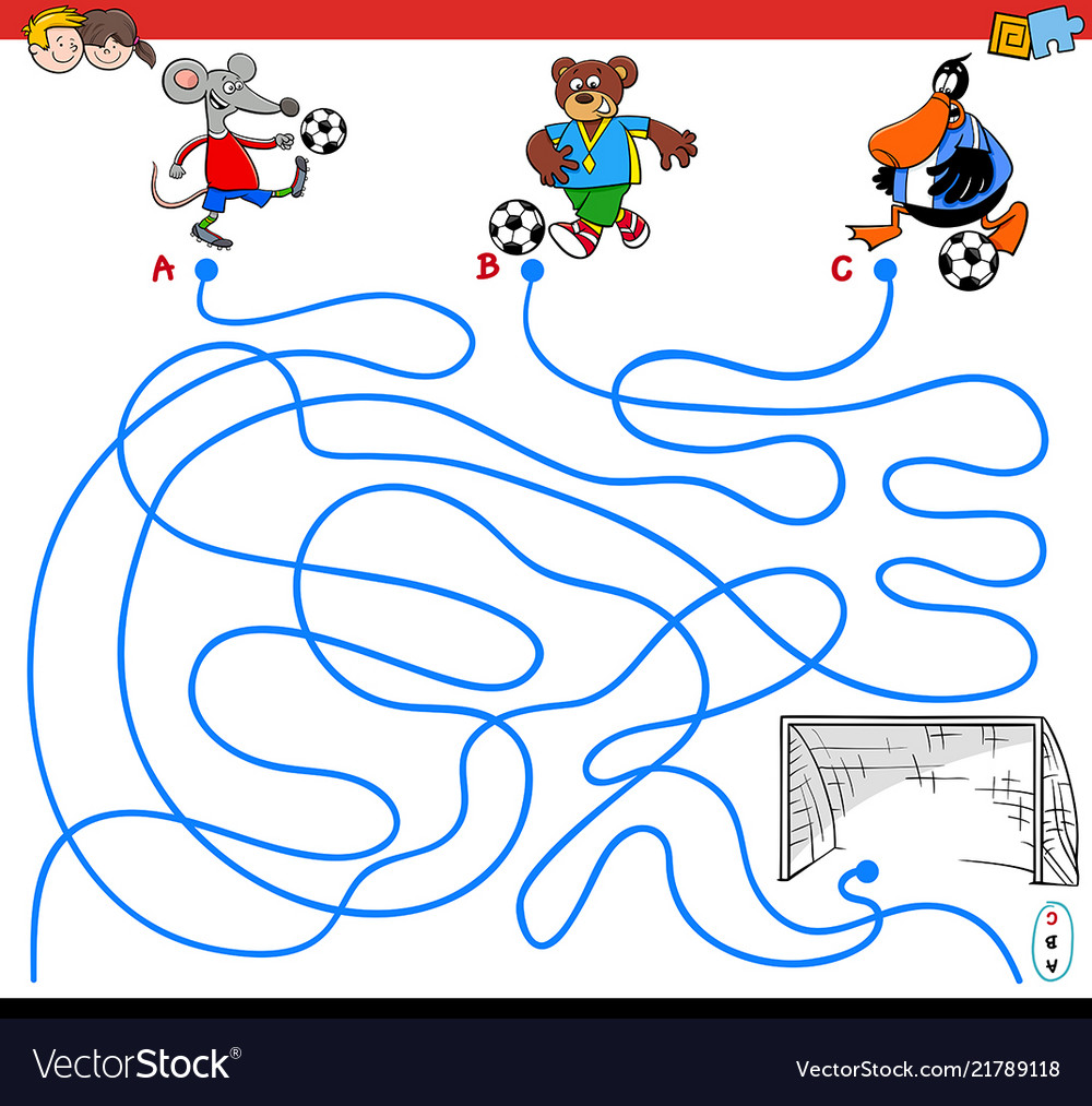 Paths maze game with animals playing soccer.