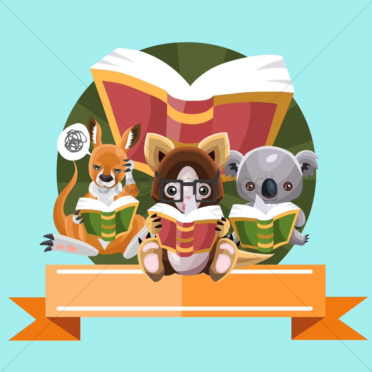Free Animals reading books Vector Image.