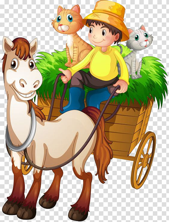 Man riding on carriage with animals illustration, Farmer.