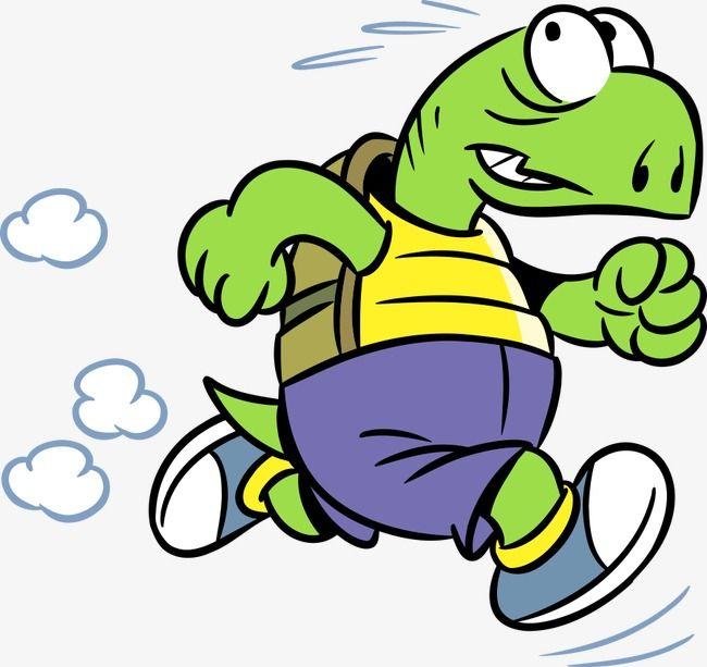 Running Turtle, Cartoon Comics, Animal Illustration, Land.