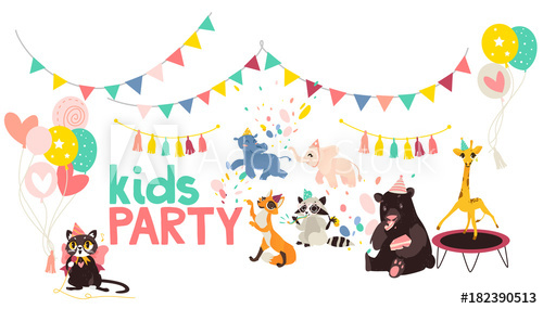 vector flat animals at party poster. Hippo and elephat.
