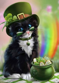 "This kitty says ""Happy St. Patrick's Day"" to all Pinners."