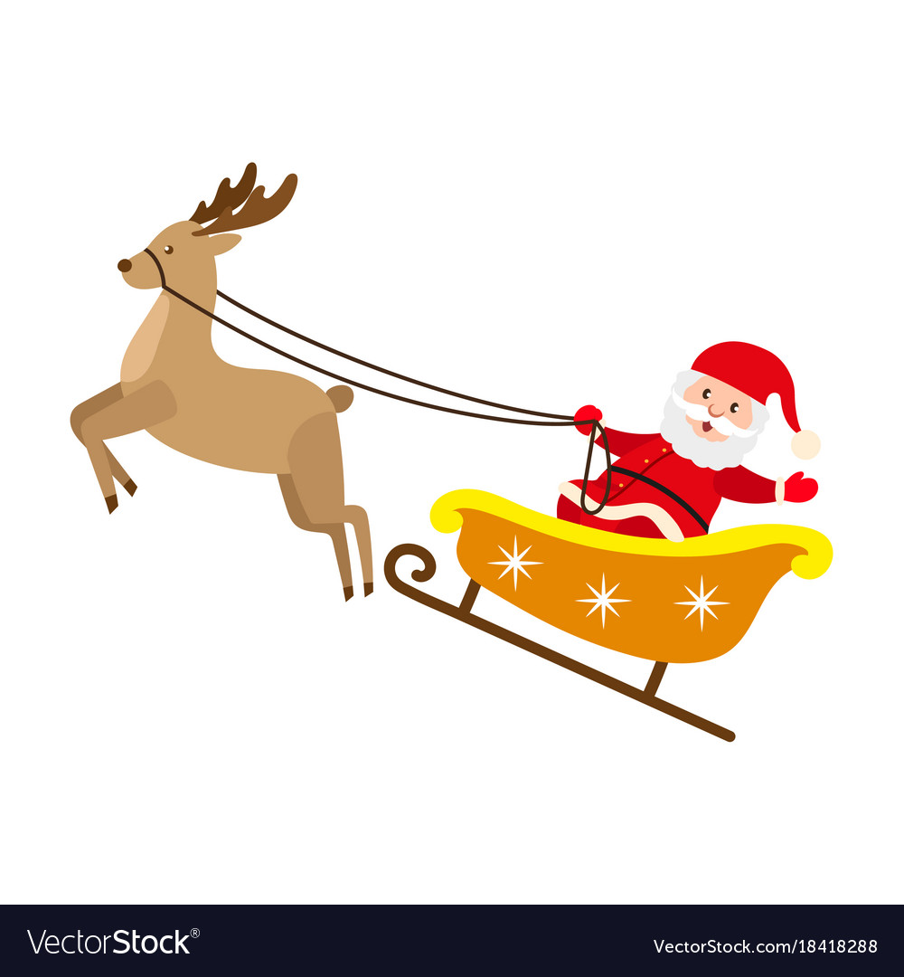 Santa claus riding reindeer christmas sleigh.