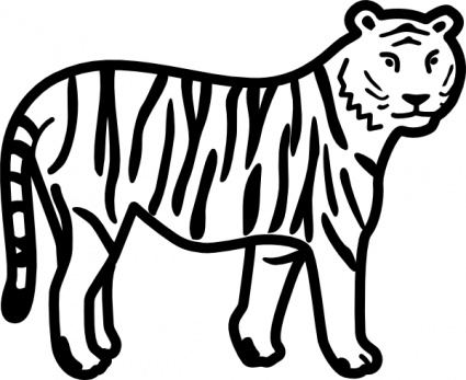 Tiger Standing Looking And Watching Outline clip art free vector.
