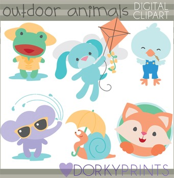 Boy Animals Spring and Summer Clip Art.