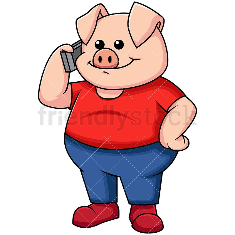 Pig Mascot Character Talking On Mobile Phone.