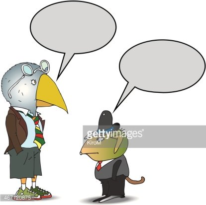 Dressed animals talking Clipart Image.