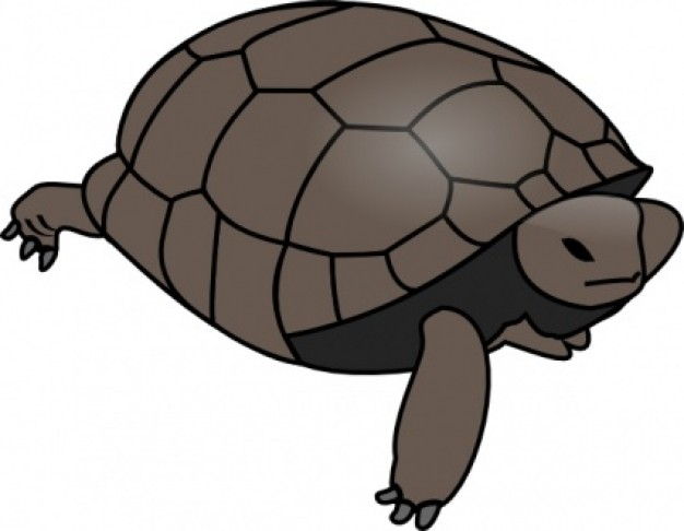 Brown turtle crawling clip art.