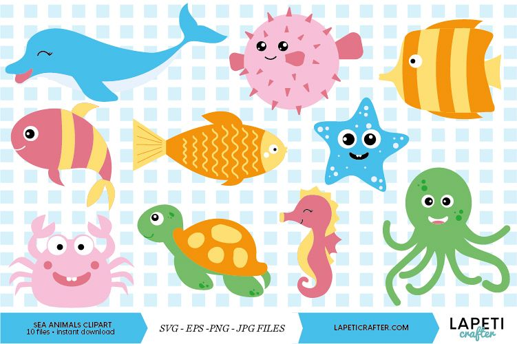 Under sea animals clipart, sea creatures clipart vector.