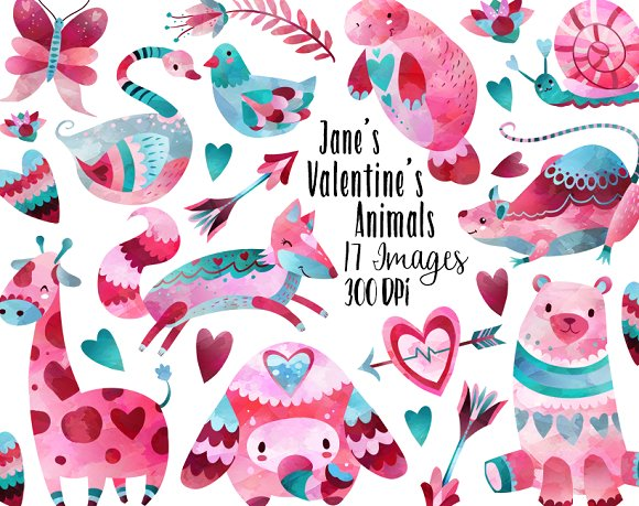 Valentines Day Animals Clipart ~ Illustrations on Creative Market.