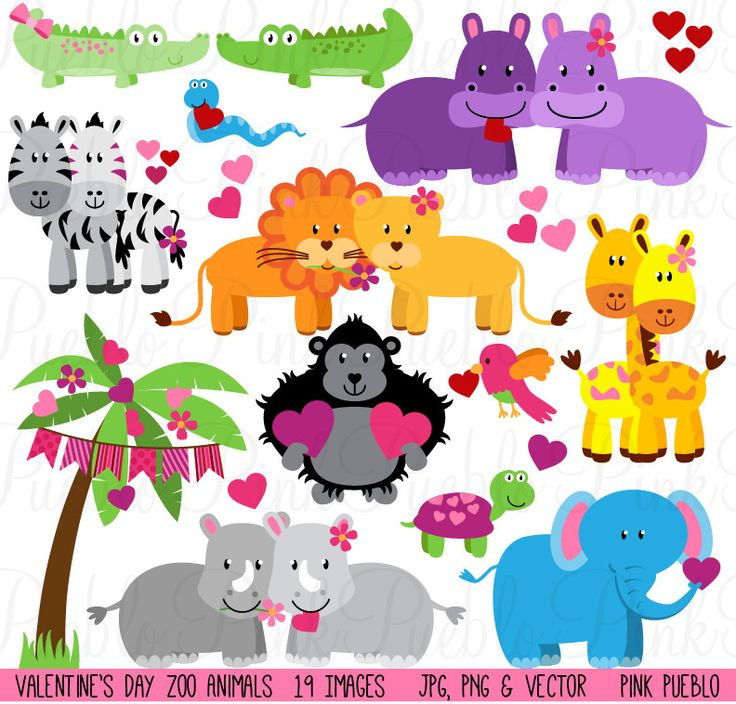 Valentine's Day Zoo & Jungle Animals Clipart.