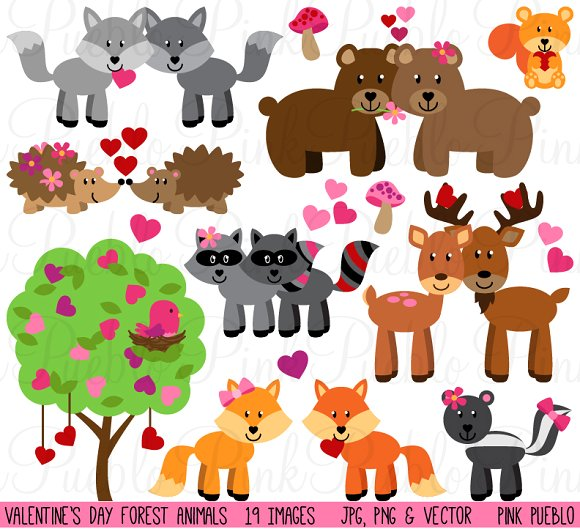 Valentine's Day Forest Animals ~ Illustrations on Creative Market.