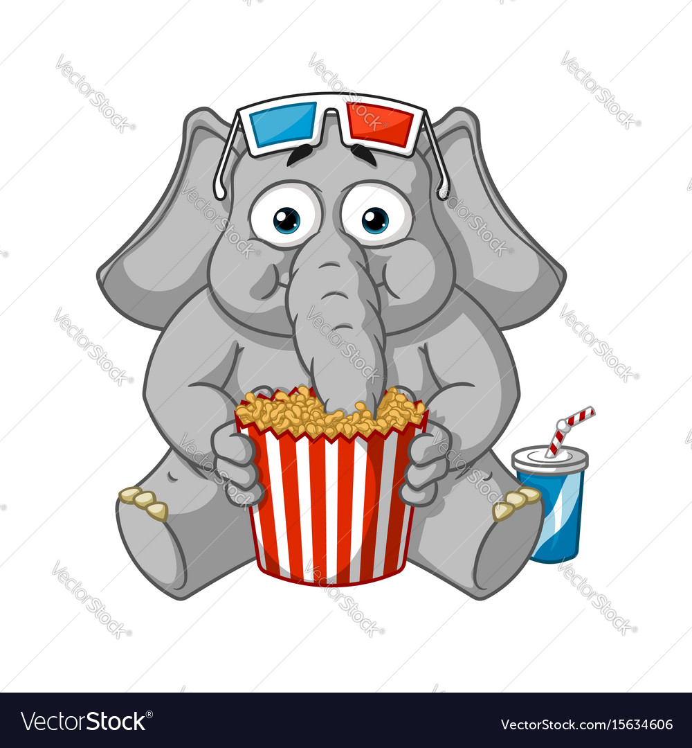 Watching movie in 3d glasses eating popcorn vector image.