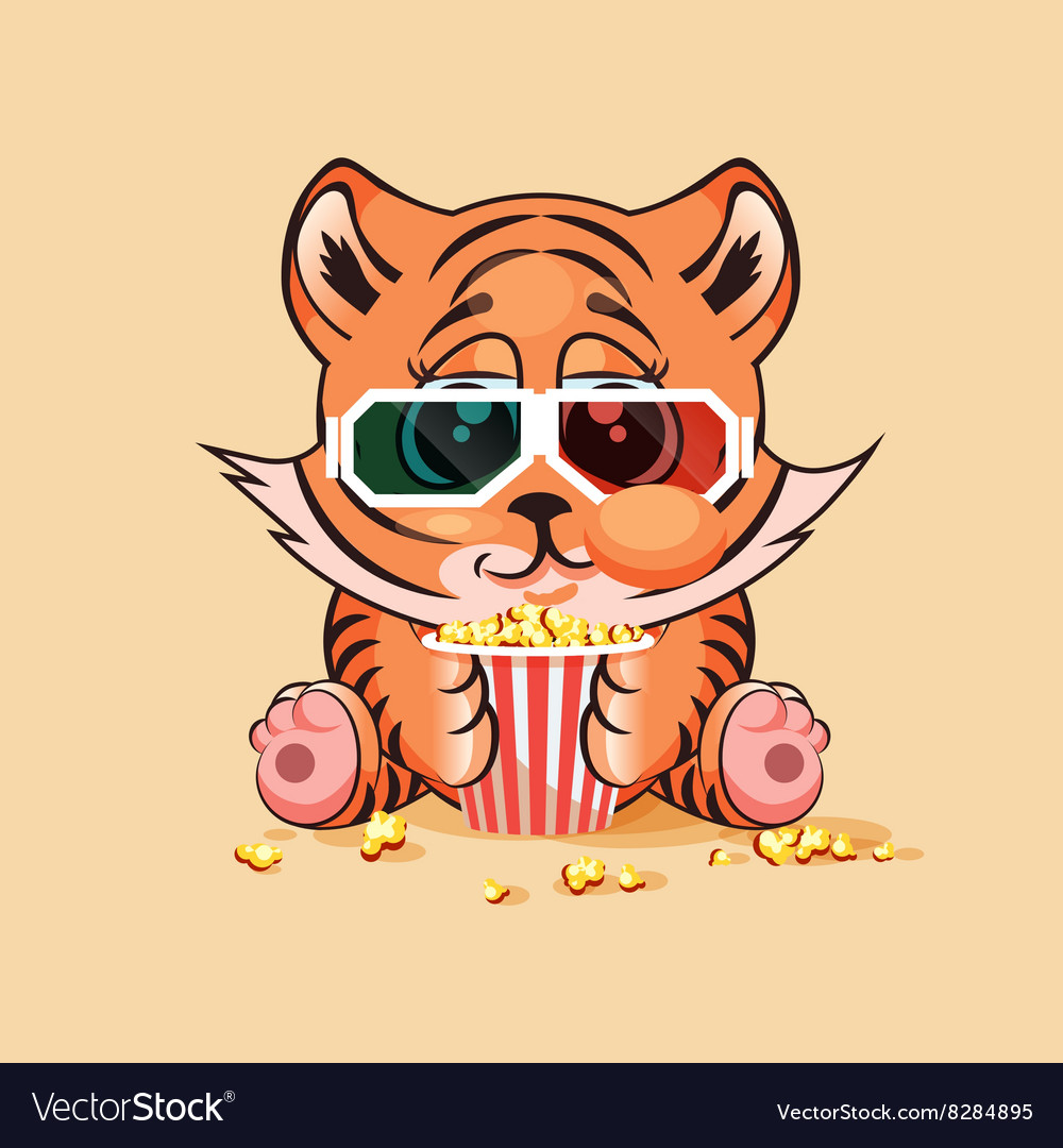 Tiger cub watching a movie vector image.