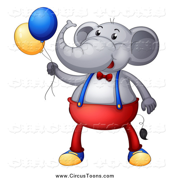 Circus Clipart of a Elephant Wearing Clothes and Holding.