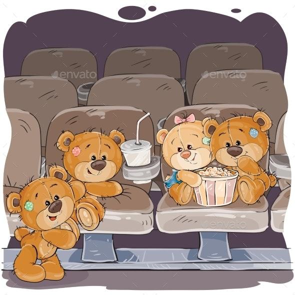 Teddy Bears Watching a Movie.