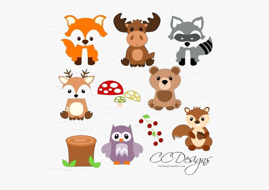 Cute Woodland Animals Clip Art , Transparent Cartoon, Free.