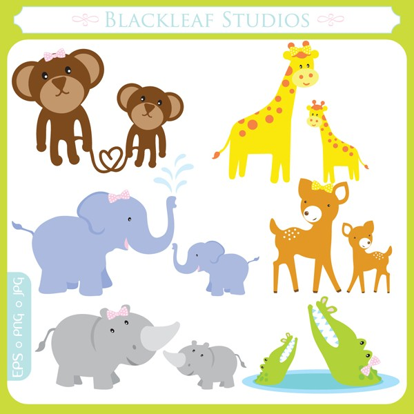 Baby Animals And Their Mothers Clipart.