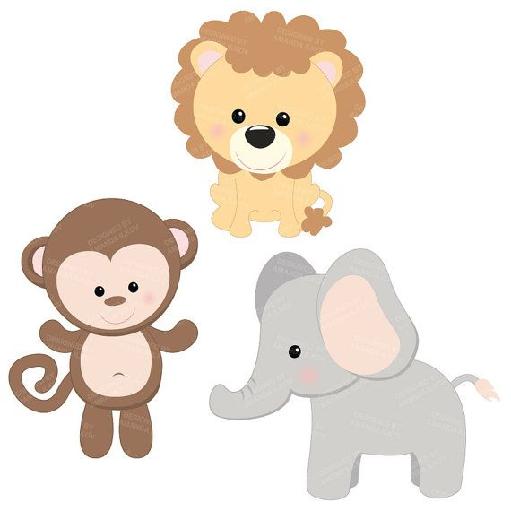 Professional Baby Jungle Animals Clipart & Vector Set.
