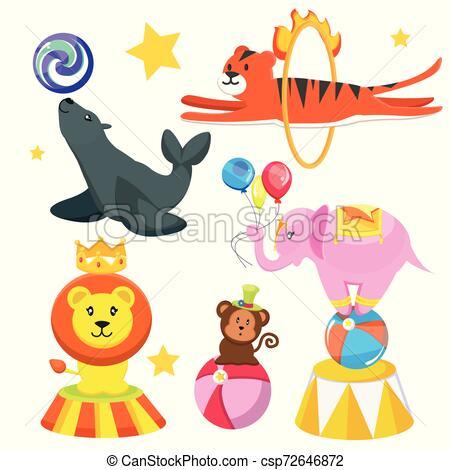 Set cute, funny circus animals.