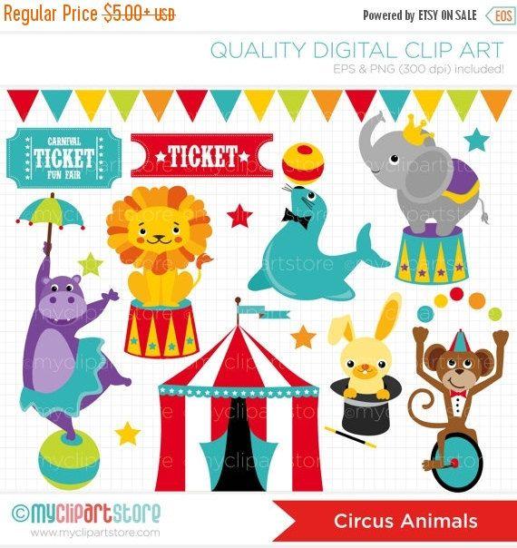 This CIRCUS ANIMALS clipart set includes adorable circus.
