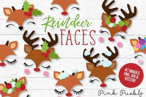 Reindeer Face Clipart, Reindeer Face Clip Art, Reindeer.