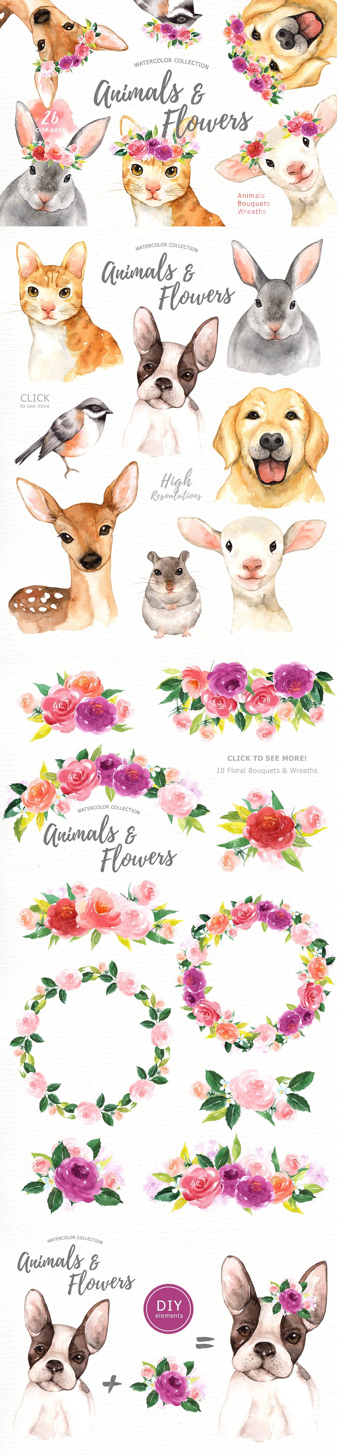 Animals & Flowers Watercolor Clipart.