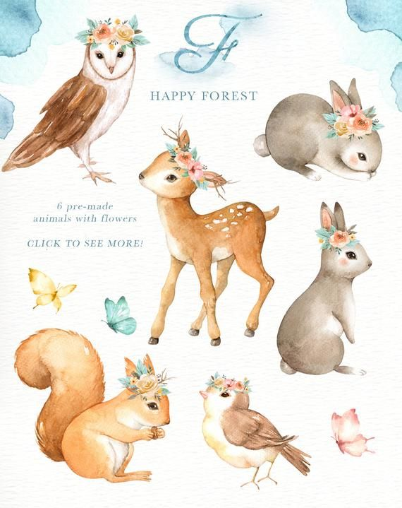 Happy Forest Watercolor Clip Art,Woodland Animals, Kids.